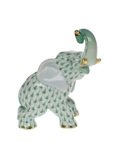 """Herend Hand Painted Porcelain Figurine """"Elephant"""" Green Fishnet Gold Accents."""
