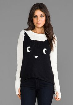 PJK PATTERSON J. KINCAID Meow Pullover Sweater in Charcoal/Ivory at Revolve Clothing - Free Shipping!