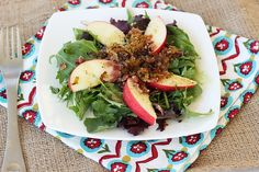 Mixed Greens Salad with Apples, Caramelized Leeks and a Maple Dijon Dressing {Gluten-free + Dairy-free with vegan option}