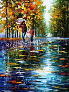 Stroll In The Autumn Park  PALETTE KNIFE Oil by AfremovArtStudio