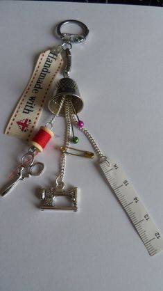 Items similar to Sewing lovers bag charm / keyring with thimble, bobbin, pins, tape measure etc on Etsy Spool Crafts, Sewing Crafts, Sewing Projects, Jewelry Crafts, Jewelry Art, Beaded Jewelry, Jewellery, Recycled Jewelry, Button Crafts