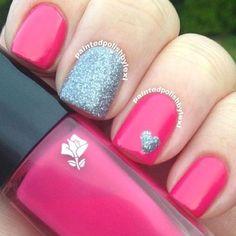 nice Cute and Easy Nail Art Designs That You Will Love - Nail Polish Addicted Fancy Nails, Love Nails, Trendy Nails, Pink Nails, Silver Nails, Sparkle Nails, Glitter Nails, Girls Nails, Nail Art Designs 2016