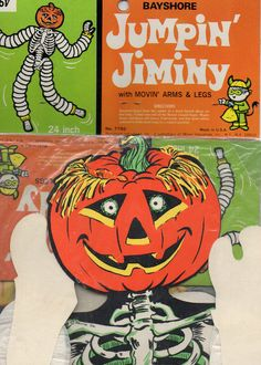 vtg beistle diecut skeletonjol pumpkin headtissue halloween dancer decoration - Beistle Halloween Decorations
