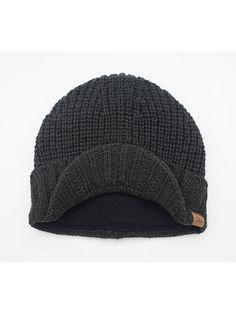 Men s Outdoor newsboy Hat Winter Warm Thick Knit Beanie Cap With Visor -  Dark Gray - CT126Z654E1 566801376671
