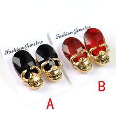 Red Black Skull Personality Stud Earrings