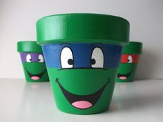 TMNT Ninja Turtles Individual Painted Flower Pot on Etsy, $12.00