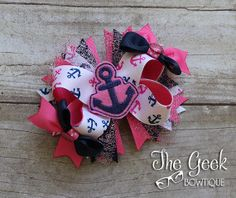Nautical Pink and Blue Anchor Bow by TheGeekBowtique on Etsy, $10.50