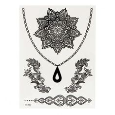 Yoins Henna Black Necklace and Flower Temporary Body Tattoo Sticker (€1,81) ❤ liked on Polyvore featuring accessories, body art and black