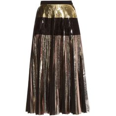 Proenza Schouler Metallic pleated skirt (538.525 CLP) ❤ liked on Polyvore featuring skirts, bottoms, юбки, black multi, panel skirt, holiday skirts, metallic gold skirt, pleated skirt and proenza schouler skirt
