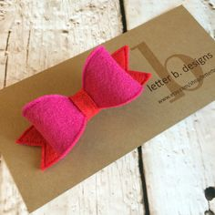 Hot Pink and Red Felt Hair Bow on Alligator Clip  by letterbdesigns on Etsy https://www.etsy.com/listing/223180285/hot-pink-and-red-felt-hair-bow-on