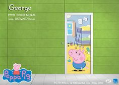 George PPD2 - AVAILABLE SIZES Door Mural ONLY 850x2070mm  $169 (excl postage)  This Christmas give the gift that keeps giving...  Easy to install and remove wallpaper murals, everyone's favorite little pig is now available as a wallpaper mural! Transform a room in only an hour! Removable wallpaper comes in panels for easy install, install instructions are included and a 1300 # for assistance.