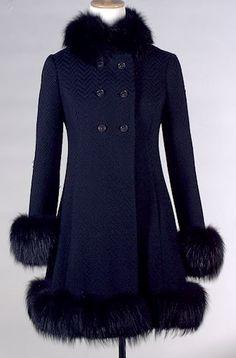 Black wool coat, Prue Acton, c. 1968?