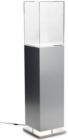 "13"" Pedestal Display Case w/ Up Lighting, Flood Lighting - Silver"