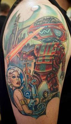 Retro Robot Invasion- Tattoo Done by Sean Ambrose at Arrows and Embers Custom Tattoo Located in Concord, NH USA
