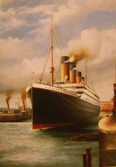 A painting of the Titanic in the White Star dock in Southampton by G .Fraser