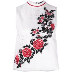 House Of Holland rose embroidery tank ($385) ❤ liked on Polyvore featuring tops, white, rose tops, house of holland, embroidery top, white top and embroidered tank