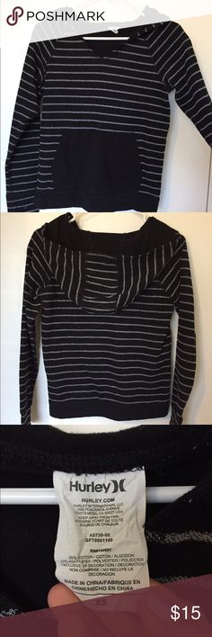 Hurley hoodie Light hoodie, blank with thin white stripes. XS. Maybe worn twice ever. Hurley Tops Sweatshirts & Hoodies