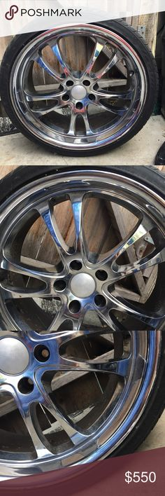 20 inch rims along with tires Trying to sell these for my dad asap! He has four 20 inch rims that comes with tires, but he suggests to buy two new tires. Only defect is that one of the tired has a little crack. Other than than there's nothing wrong!! I posted his description of the rims/ tires Bc I know very little. Any questions just ask! And I can ask him for you. $550 or up for an offer! Other
