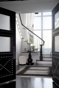 Black doors with deco nail design and opaque glass. Image from white life ©: Entry - Hall - Entrance I like half the door solid half opaque. Design Entrée, Deco Design, House Design, Design Ideas, Design Trends, Nail Design, Design Elements, Design Inspiration, Cool Doors