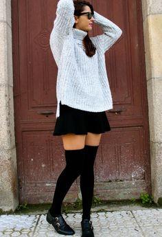 January sloap  , Zara in Sweaters, Zara in Skirts, Zara in Socks / Tights, Uterqüe in Oxfords