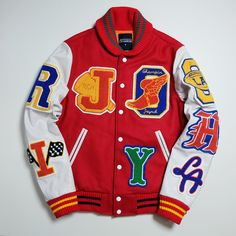 The Biggest Online Curation for Japanese Souvenir Jackets plus other Vintage and Antiques Curios. Leather Varsity Jackets, Men's Leather Jacket, Jacket Men, Dope Outfits For Guys, Cool Outfits, Varsity Jacket Outfit, Mens Varsity Jacket, Mens Sweat Suits, Estilo Punk Rock