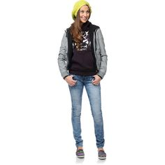 #Obey Girls Jealous Lover Bomber #Jacket, Obey Wasted Youth #Hoodie, #Empyre Girls skinny #jeans, #Vans shoes, #Volcom beanie (#Zumiez Holiday 2013 Lookbook - Outfit #18)