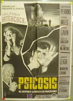 """Póster original español de """"Psicosis"""" de Alfred Hitchcock / todocoleccion"""