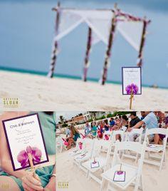 Playa del Carmen Mexico Beach Wedding at Playacar Palace | Kristen Sloan Photography | Beach Wedding Decor| Wedding Ceremony Fans |
