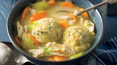 This twist on classic chicken and dumplings is complete with veggies, fresh herbs, and soft cornmeal dumplings.