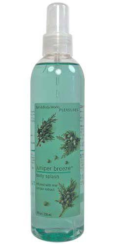 Bath  Body Works Juniper Breeze Pleasures Collection Splash 8 fl oz (236 ml) - List price: $10.50 Price: $5.99 Saving: $4.51 (43%)