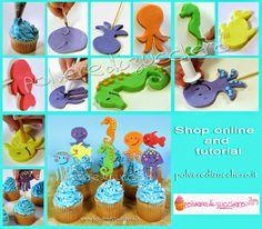 Polvere di Zucchero: cake design e sugar art. Corsi decorazione torte,biscotti,cupcakes e fiori: Tutorial cupcakes estivi con decori marini: medusa, polipo, cavalluccio marino e pesce in pasta di zucchero
