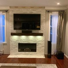 Fireplace Accent Walls, Fireplace Tv Wall, Fireplace Built Ins, Custom Fireplace, Fireplace Remodel, Living Room With Fireplace, Fireplace Design, Fireplace Refacing, Tv Mounted On Fireplace