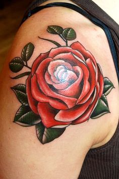 Rose tattoo (traditional)  I want an orange rose like this, in honor of my best friend that died from Leukemia.