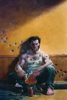Logan and bullet holes... they ruined his BOOK.  Uh-oh...