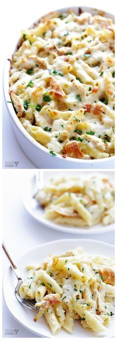 Chicken Alfredo Baked Ziti -- quick, easy, affordable, picky-eater friendly, and SO GOOD! Great Recipe!