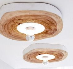 Burled Wood Ceiling Mount Light