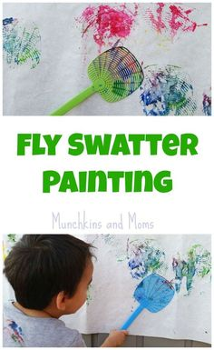 Swatter Painting Fly Swatter Painting- process art for preschoolers and toddlers.Fly Swatter Painting- process art for preschoolers and toddlers. Kids Crafts, Bug Crafts, Daycare Crafts, Toddler Crafts, Nature Crafts, Creative Crafts, Insect Crafts, Daycare Rooms, Bug Activities