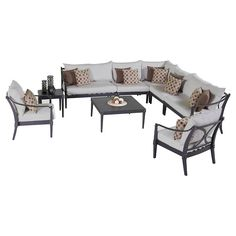 Bring rest and relaxation right outside your back door with the Astoria 9 piece Sectional and Club Chair Set in Moroccan Cream