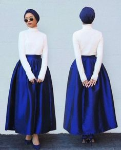 puffy maxi skirt blue and white-Latest hijab trends http://www.justtrendygirls.com/latest-hijab-trends/