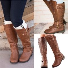 """The KIKI super chic boot - BROWN Zipper quilted riding boots will freshen up your fall attire! Features a round toe, leatherette upper with a decorative zipper accent, two adjustable buckle straps and a quilted design. Finished with a side zipper and 1.25"""" heel approx. that definitely earns top points in style. AVAILABLE IN TAUPE (8.5)  & BROWN.  PRICE FIRM, NO TRADE Bellanblue Shoes"""