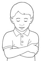 An Illustration Of A Young Boy Reverently Raising His Hand