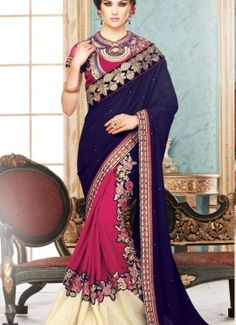 Blue & pink georgette & chiffon designer party saree, saree crafted with embroidered aplic cut work patch. Blouse material velvet with net crafted with embroidery patch border. As shown Blouse can be made available and also can be customized as per your style subject to fabric limitation.Maximum blouse size 40 Inches.
