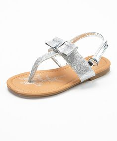 Love this Silver Glitter Bow Sandal by Spoiled Angel Kids on #zulily! #zulilyfinds