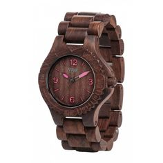 The Kale Choco-White Watch from WeWood features brightly contrasting colors exemplifying the balance of modern design and Mother Nature. Repurposed Wood, Wooden Watch, Vegan Shoes, Pink Accents, Unique Colors, Natural Wood, Natural Materials, Kale, Watches