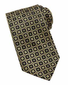 Circle-Medallion Silk Tie, Black/Gold  by Stefano Ricci at Neiman Marcus.
