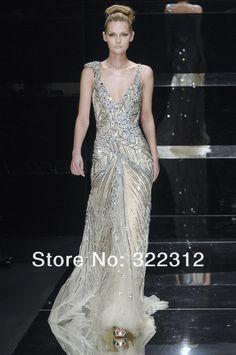 2014 Elie Saab Couture Sexy V-neckline Rhinestone Ctystals Sequins Fashion Floor Length Evening Prom Dresses
