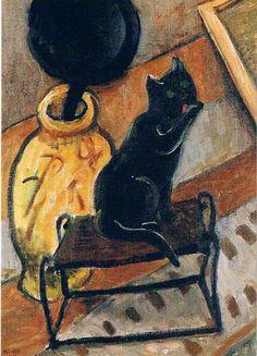 Still Life with Black Cat - Gabriele Münter c.1930 German 1877-1962
