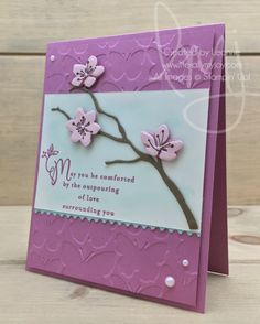 Love Surrounds You | Stampin\' Up! | Colorful Seasons | Heartfelt Sympathy #literallymyjoy #flowers #sympathy #treebranch #butterflies #dogwoodflowers #pearls #thinkingofyou #comfort #sweetsugarplum #powderpink #20172018AnnualCatalog