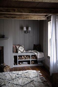 Grey reading nook in