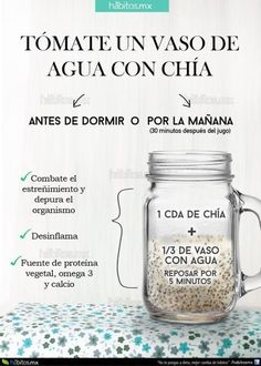 12 tips para comer sanamente. 12 tips to eat health… Water iconography with chia. 12 tips to eat healthy. 12 tips to eat healthily. Healthy food Delicious food Diet Food without calories Healthy Juices, Healthy Drinks, Healthy Habits, Healthy Tips, Healthy Eating, Healthy Recipes, Healthy Food, Nutrition Drinks, Detox Recipes